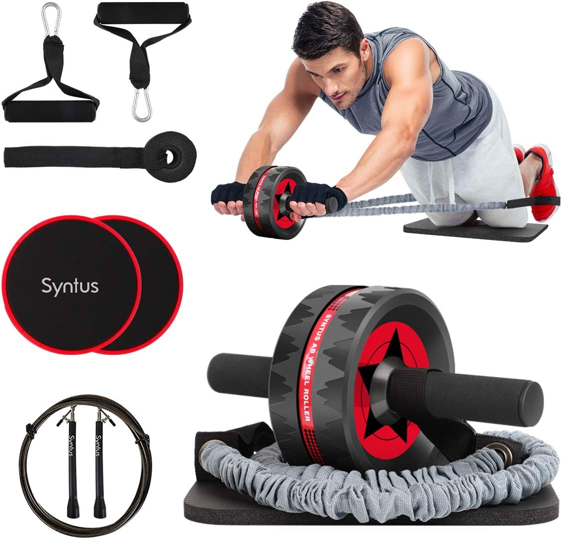 Workout Black Red Exercise A7S6 Power Wheel Roller For Abs Abdominal Roller