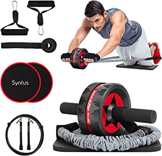 Syntus Newly 10-in-1 AB Wheel Roller with Knee Pads Resistance Bands Handles Grips Adjustable Skipping Jump Rope Core Slid...