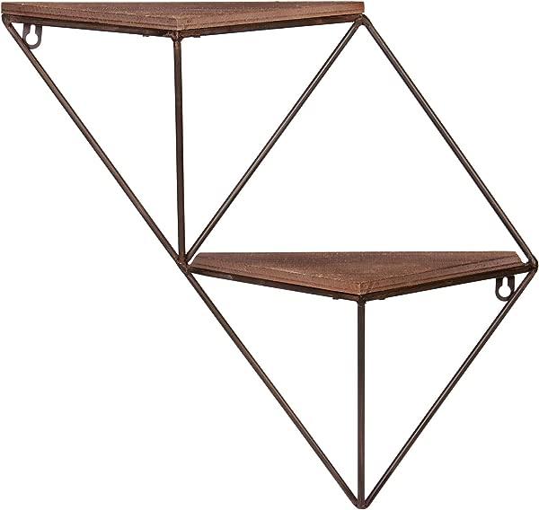 Two Step Wood And Metal Geometric Triangle Wall Shelf