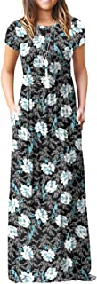 Women's Short Sleeve Floral Dress Loose Plain Maxi Dresses Casual Long Dresses with Pockets