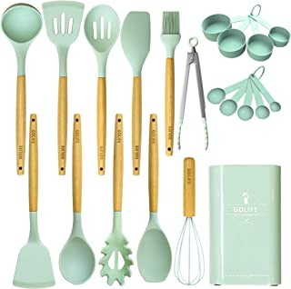 GOLIFE Kitchen Utensil Set, 21PCS Silicone Kitchen Cooking Utensil Set Non-stick Heat Resistant Wooden Handles Cooking Tool Best Kitchen Tool Set Gifts(Mint Green)