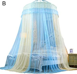 sunshine-xj Home Bedding Dome Bed Canopy Princess Queen Mosquito Net Floor Length Curtain Gauze Sheer Dome Hanging Bed Valance,B