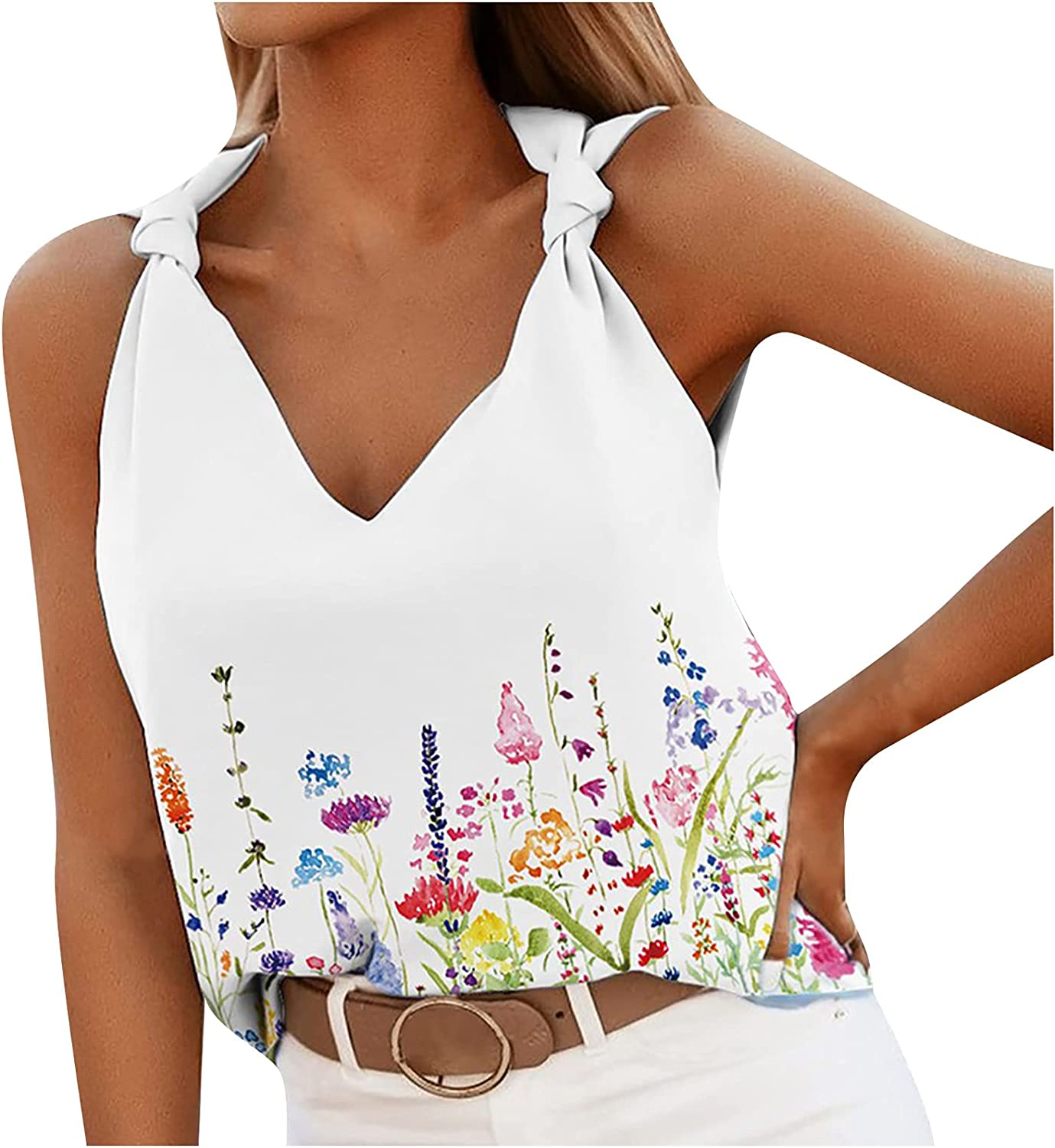 Meichang Womens Casual Knotted Tank Tops V-Neck Loose Vest Blouse Fashion Printed Pullover Ladies Cute Tees Shirt