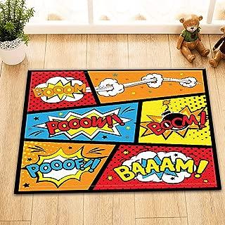 CDHBH Cartoon Superhero War Home Hotel Room Door Floor Mat Bathroom Bedroom Kitchen Living Room Children's Carpet Non-Slip Material Flannel 40x60cm
