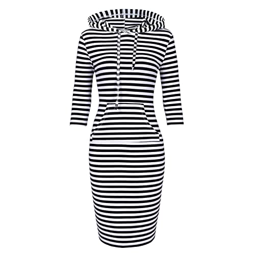 4ab0cd964846 Women Hooded Dress 3/4 Sleeve Sweatshirt Pullover Stripe Keen Length  Kangaroo Pocket Dress