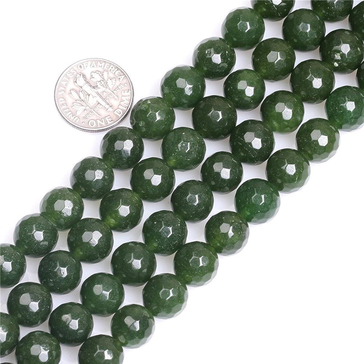 JOE FOREMAN 10mm Taiwan Jade Green Semi Precious Gemstone Round Faceted Loose Beads for Jewelry Making DIY Handmade Craft Supplies 15