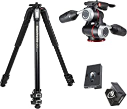 Manfrotto MT055XPRO3 Aluminium 3-Section Tripod Kit w/ MHXPRO3W X-PRO 3-Way Head w/Retractable Levers and Friction Controls w/Two Replacement Quick Release Plates for the RC2 Rapid Connect Adapter