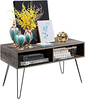 Tangkula TV Stand Retro Wood Entertainment Center Living Room Media Console Stand with 2 Open Storage Shelves and Metal Hairpin Legs