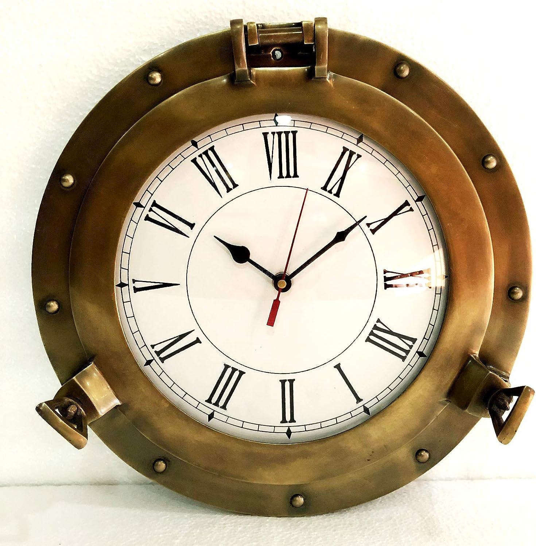 Reloj de pared náutico de 30,48 cm de latón antiguo para la decoración del hogar