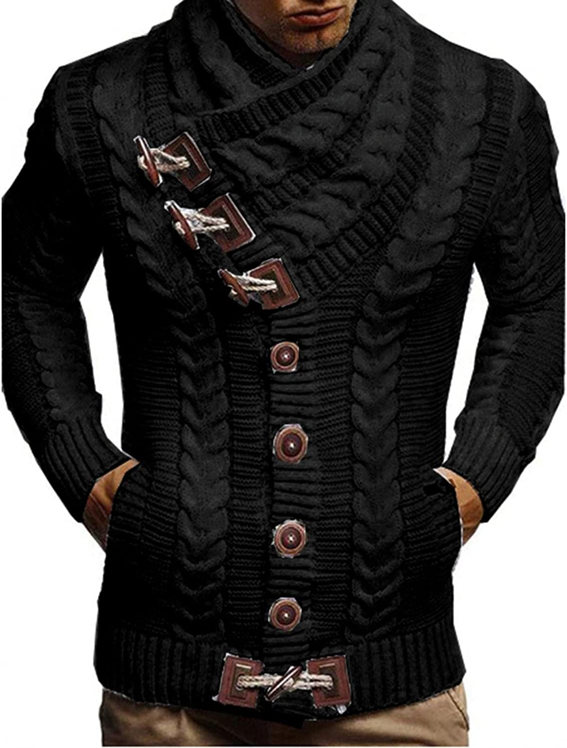 WUAI-Men Slim Fit Turtleneck Sweater Casual Twisted Knitted Designer Shawl Collar Pullover Thermal Jumper Tops