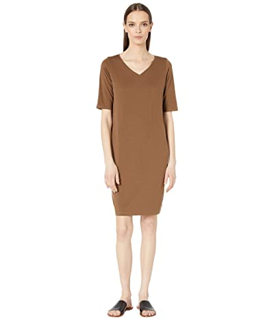 Eileen Fisher V-Neck Shift Dress (Pine Needle) Women