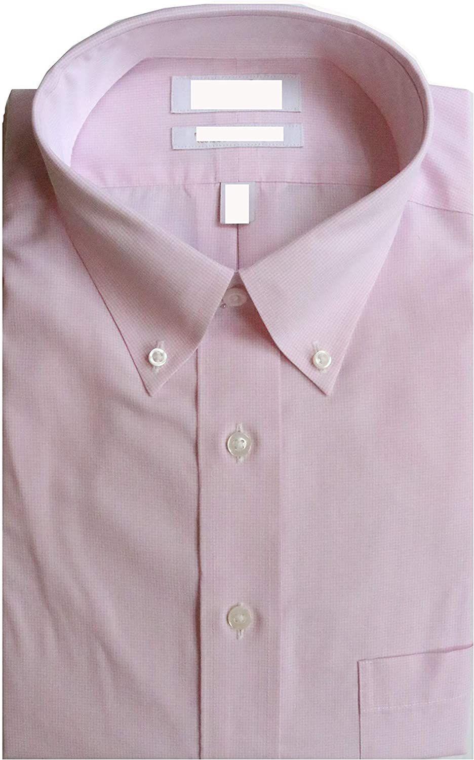 Gold Label Roundtree & Yorke Non-Iron Fitted Button Down Plaid Dress Shirt G16A0136 Pink