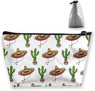 Premium Makeup Case Clutch Bag, Mexican Sombrero Hat Cactus Travel Makeup Train Case Holder Large