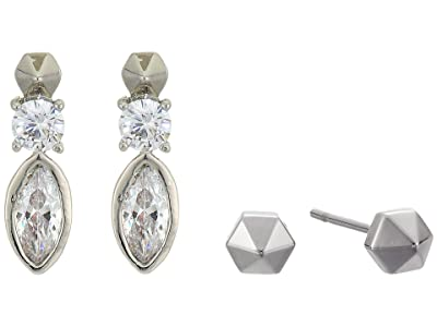 AllSaints Marquis Duo Earrings Set (Crystal/Rhodium) Jewelry Sets
