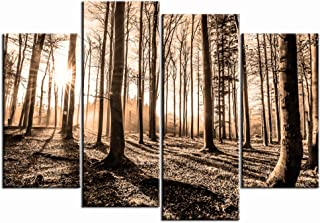 Nachic Wall 4 Piece Forest Picture Wall Art Sepia Brown Tree Sunset Canvas Art Nature Winter Forest Landscape Painting for...
