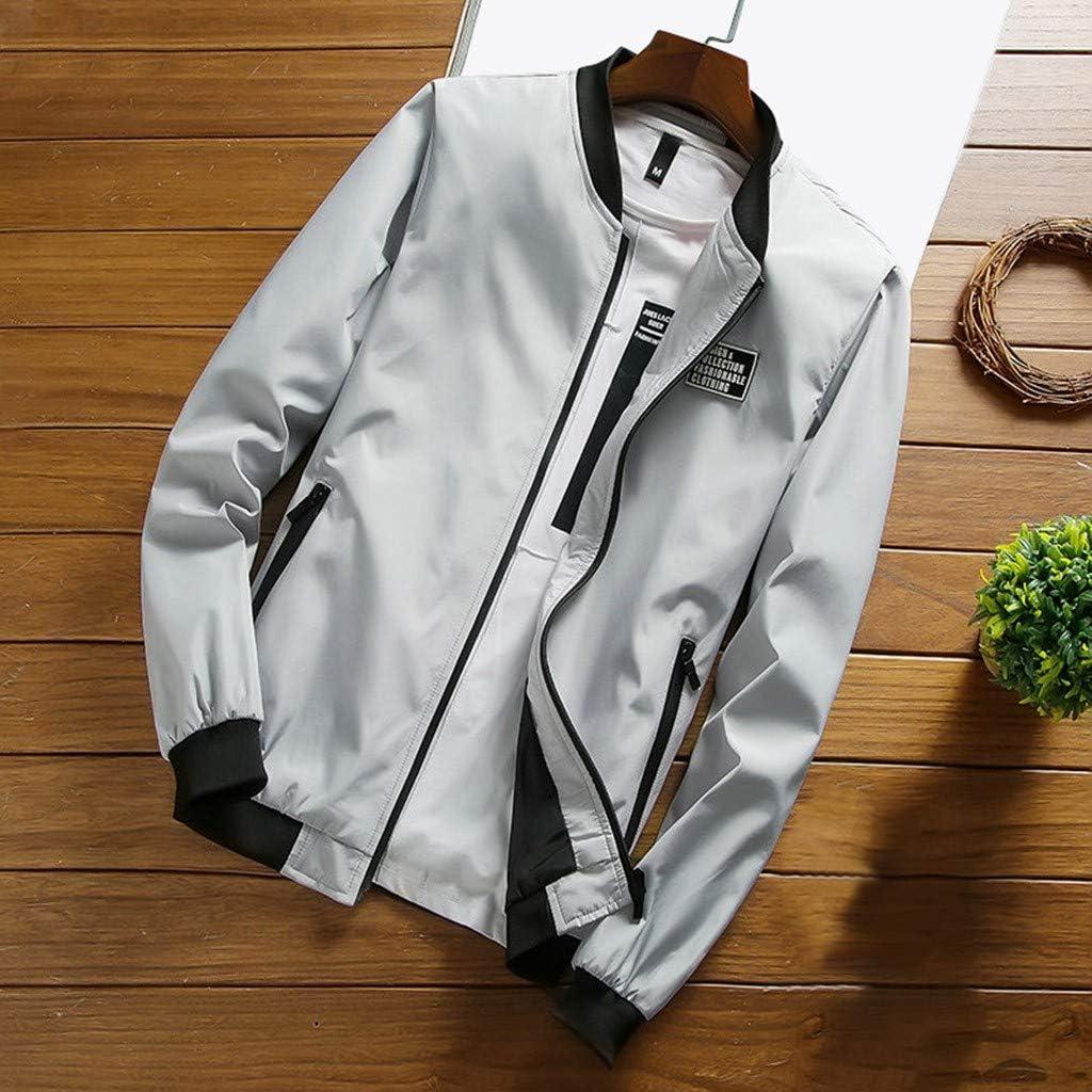 VEZAD Store Men's Casual Pocket Zipper Coat Thermal Baseball Jacket Sports Autumn Winter Outwear