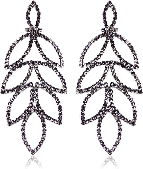 RIAH FASHION Sparkly Geometric Rhinestone Chandelier Hoop Statement Earrings - Cubic Zirconia Crystal Bridal Duster Dangles Fringe Tassel/Waterfall Drape/Circle Ring (Art Deco Laurel Leaf - Black)