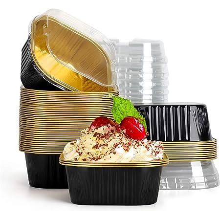 Cupcake Cups with Lids, Eusoar 10oz 50pcs Disposable Desserts Flan, 300ml Baking Cups with Lids, Aluminum Foil Desserts Cupcake Flan, Custard Cake Catering Gathering Favor-Black Gold