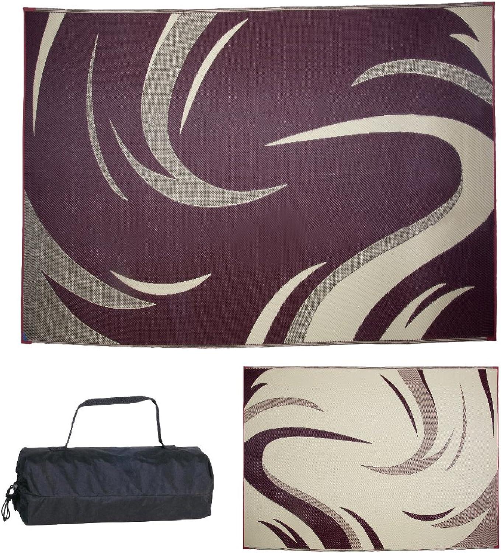 Ming's Mark Inc. Burgundy Tan 8' x 11' SD8115 Mat Graphic Swish 8 X 11
