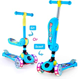 2-in-1 Kick Scooters for Kids Toddler 3 Wheel Scooter for Boys&Girls – Kids Scooter with LED Light Up Wheels – Adjustable Height Wide Deck for Children from 2 to 14 Year-Old