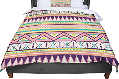 Cal King Comforter KESS InHouse Louise Machado Aqua Stripes King 104 X 88