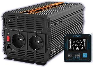 EDECOA 1500W Zuivere Sinus Omvormer 24V naar 230V met LCD-afstandsbediening, 2x USB en 2x EU-stopcontacten
