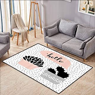 Door Rug for Internal Anti-Slip Rug Cactus Dotted Backdrop with Two Hand Drawn Plants Having a Conversation Speech Bubble Cloth Easy to Clean Carpet W5'9 xL4'9