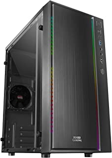 Mars Gaming MCM, Scatola PC MicroATX, Compatto, 16 Modalità ARGB, Ventilatore 8 cm