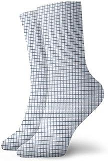 tyui7, Calcetines de compresión antideslizantes de cuadrícula de papel Calcetines deportivos acogedores de 30 cm para hombres, mujeres, niños