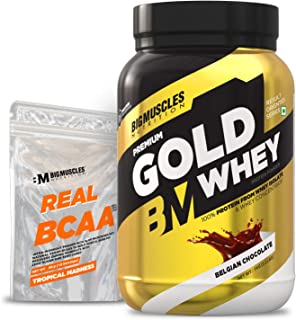 Bigmuscles Nutrition Premium Gold Whey 1Kg [Belgian Chocolate] with Free Real BCAA 10 Servings Whey Protein Isolate & Whey...