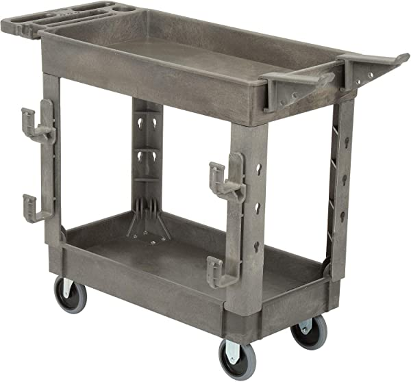 Plastic 2 Shelf Service Cart With Ladder Holder And Utility Hooks 38 L X 17 1 2 W X 32 1 2 H Lot Of 1
