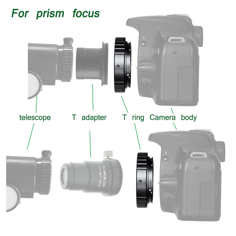Gosky Nikon cámara Adaptador T/Anillo T para telescopio – con M42 ...