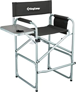 KingCamp Tall Director Chair Makeup Folding Artist Chair Bar Height with Side Table, Cup..