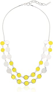 Nine West Splash Of Color Women's 16 Inch 2 Row Circle Frontal Silver Necklace, Yellow