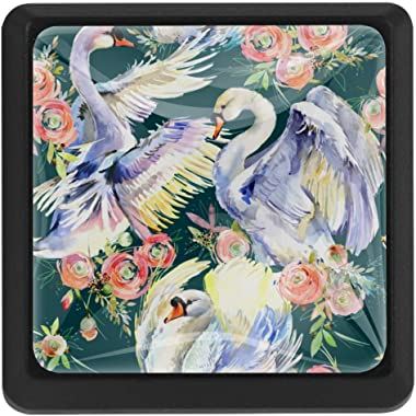 Swans and Roses Romantic Set of 3 Vintage Color Multi Designed Cupboard Cabinet Door Knobs Square Drawer Pulls