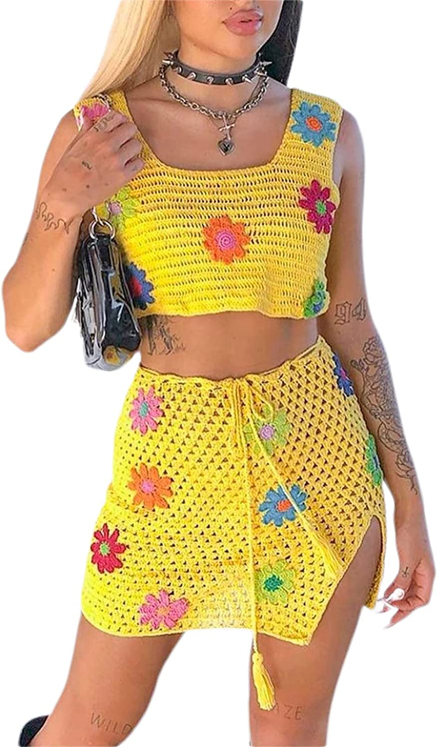 Two-Piece Women Boho Outfits Set Sleeveless S Floral Knitted Opening large release sale Y2k Deluxe