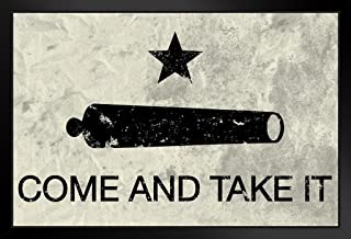 Come and Take It Flag Black Wood Framed Art Poster 14x20