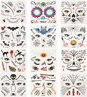 PIXNOR 12 pcs Halloween Temporary Tattoos Face Tattoos Stitch Scar Wound Body Temporary Party Favors for Halloween, Masque...