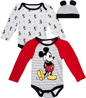 Baby Boys Newborn Bodysuits (2 Pack) with Fun Character Hat : Mickey Mouse, Lion King, Toy Story & Winnie The Pooh