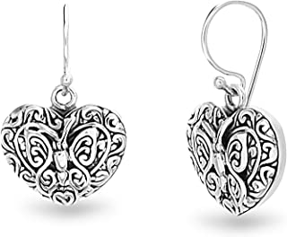 Oxidized Sterling Silver Textured Novelty Dangle French Wire Earrings for Women (Various Styles)