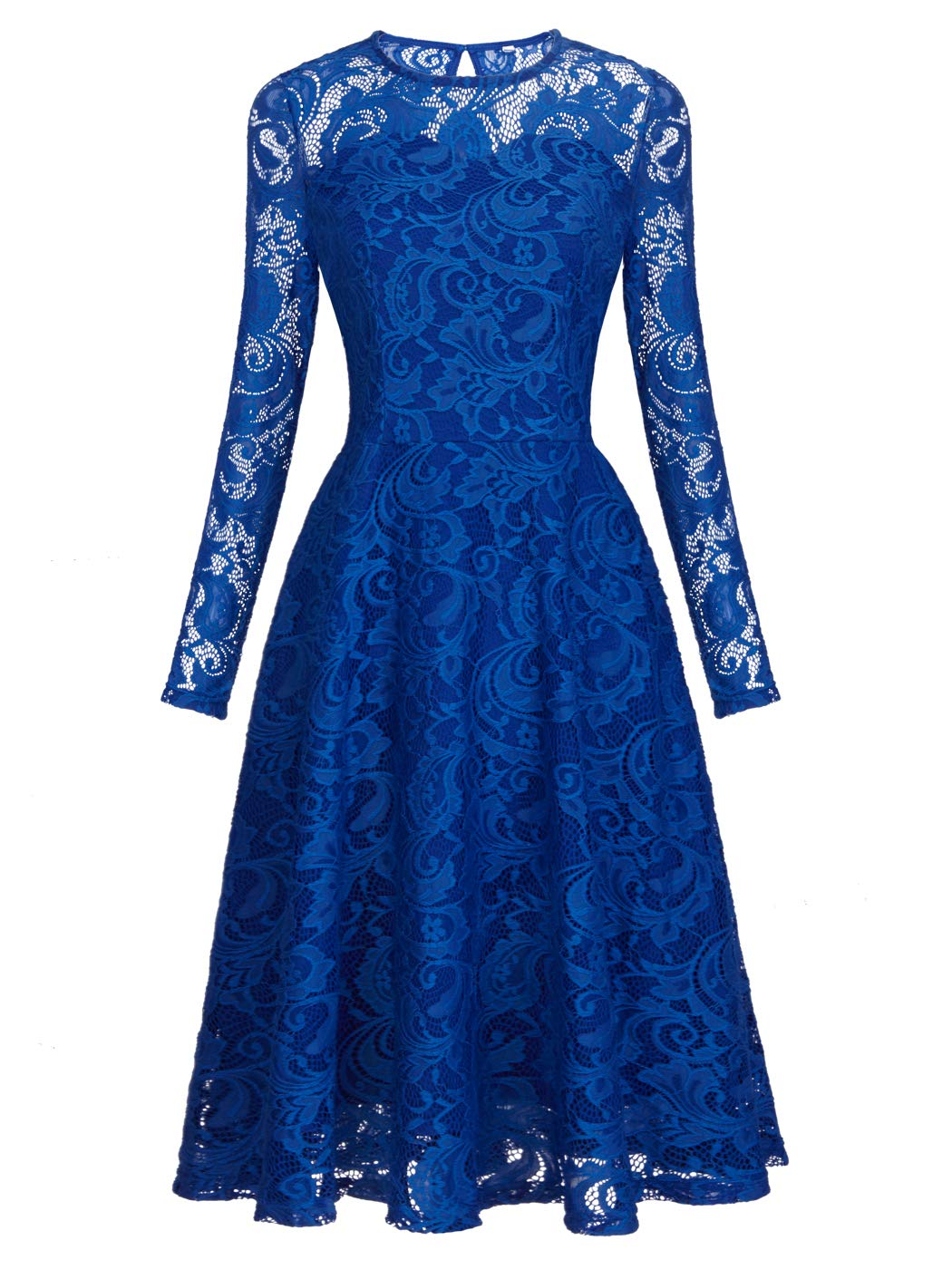 Available at Amazon: FAIRY COUPLE Women's Vintage Floral Lace Long Sleeve Formal Bridesmaid Swing Dress