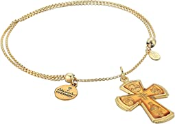 Sacred Cross Precious Metal Finish Expandable Chain Bracelet w/ Silver Finish Filled Charm