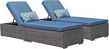 Patiorama Outdoor Patio Chaise Lounge Chair, Elegant Reclining Adjustable Pool Rattan Chaise Lounge Chair with Cushion, Grey