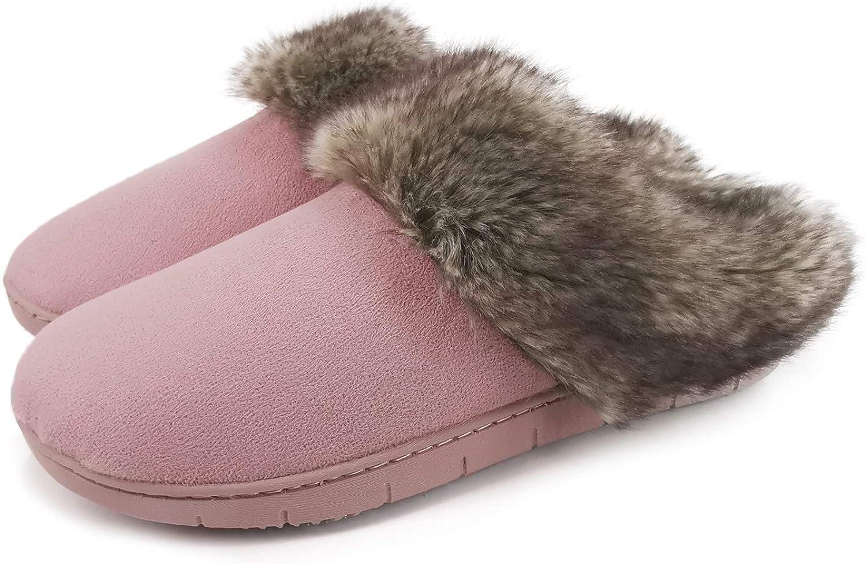 ofoot Womens Moccasins Suede Memory Foam Fur Slipper Clogs Warm Cozy Fleece Knit Lined Non Slip Indoor Outdoor Rubber Sole