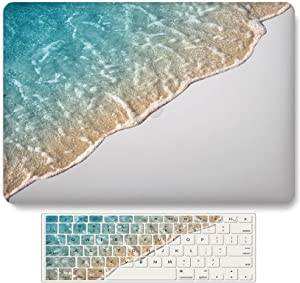 Ocean Laptop Skin Compatible with MacBook Air 13 Inch Case (2020 2021 Release A2337 M1 A2179 Touch ID), LYLQCXD Matte Plastic Hard Shell Case Cover and Keyboard Cover Skin - Blue/White Beach