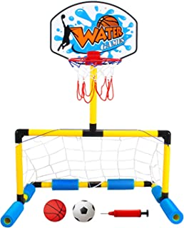 Geekper Multi-Sport Floating Reinforced Basketball and Soccer Goal Pool Setwith 2 Nets2 Small Inflatable Balls and Pump - ...