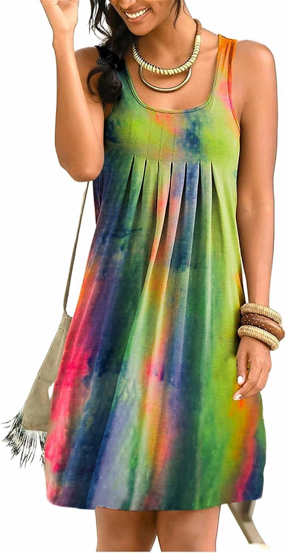 Hami House Dress for Women Plus Size Tie-dye Print Boho Beach Casual Dress Sleeveless V Neck A line Swing Summer Sundress