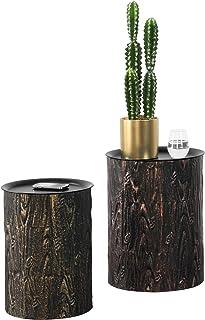 Lot de 2 Tables Basses Rondes Design pour Salon avec Plateaux Amovibles Meubles Stylés en Métal Différentes Tailles Noir E...