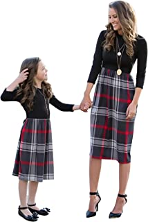 Family Matching 1 Piece Buffalo Plaid Dress Mommy and Me Long Sleeve High Waist Patchwork Midi Dress