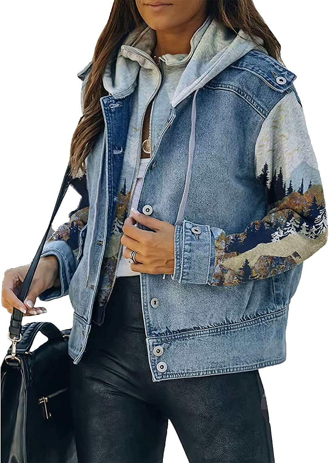 Women's Aztec Patchwork Hooded Denim Jacket Fashion Casual Plus Size Cropped Jean Jackets for Women